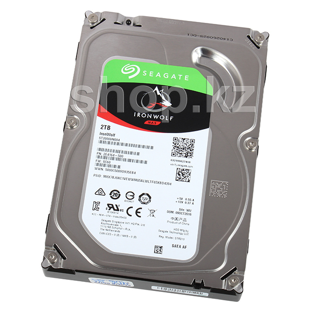 "Жесткий диск HDD 2000 Gb Seagate IronWolf NAS (ST2000VN004), 3.5"", 64Mb, SATA III"