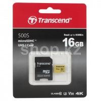 Карта памяти Micro SDHC 16Gb Transcend, Class 10 UHS-I U3, адаптер