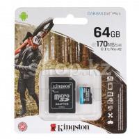 Карта памяти Micro SDXC 64Gb Kingston Canvas Go! Plus, Class 10 UHS-I U3