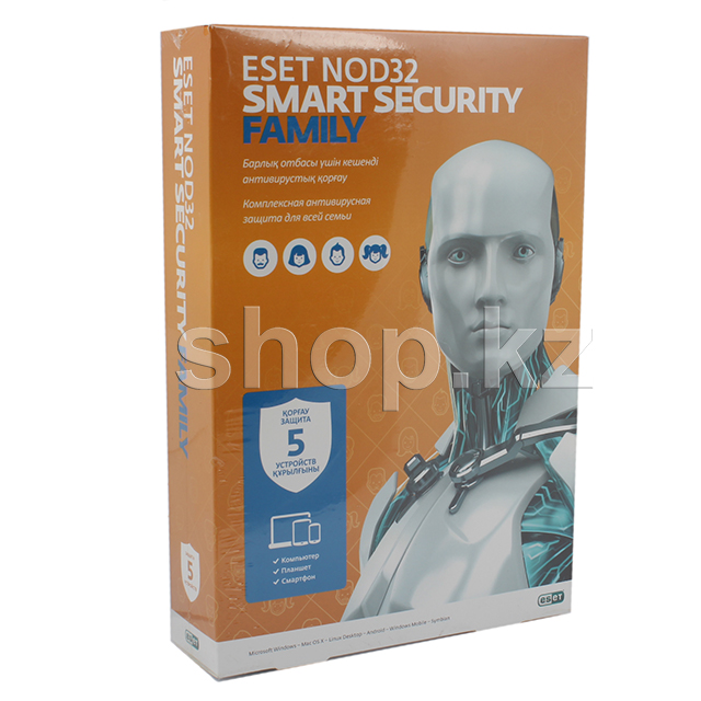 Антивирус ESET NOD32 Smart Security Family, 12 мес, 5 устройств, BOX