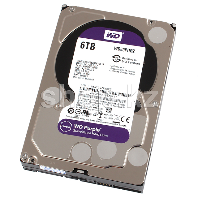 "Жесткий диск HDD 6000 Gb Western Digital (WD60PURZ), 3.5"", 64Mb, SATA III, Purple"