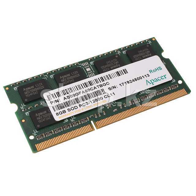 SO-DIMM 8Gb DDR3 PC12800/1600Mhz Apacer, BOX (DS.08G2K.KAM)
