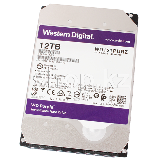 "Жесткий диск HDD 12000 Gb Western Digital (WD121PURZ), 3.5"", 256Mb, SATA III, Purple"