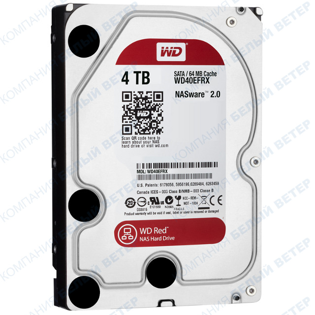 Жесткий диск HDD 4000 Gb Western Digital (WD40EFRX), 64Mb, SATA III
