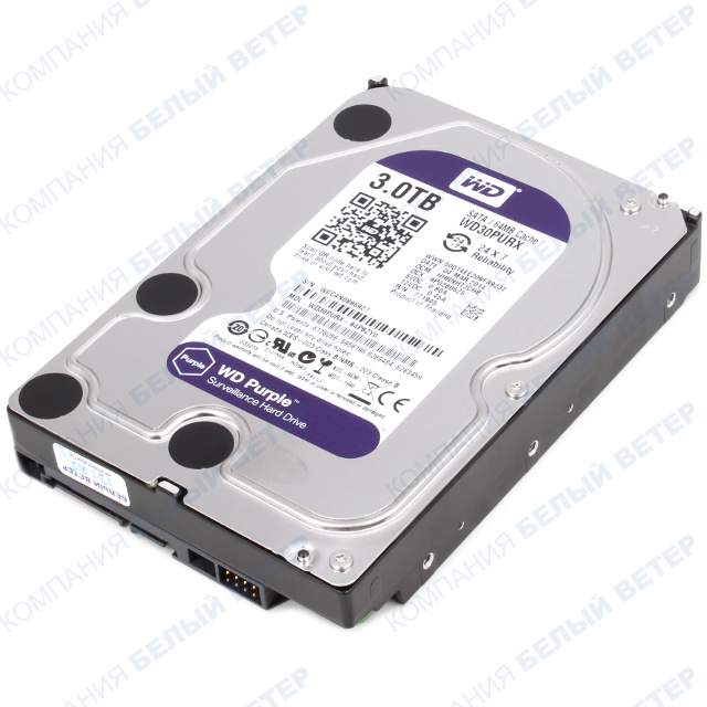 "Жесткий диск HDD 3000 Gb Western Digital (WD30PURX), 3.5"", 64Mb, SATA III, Purple"